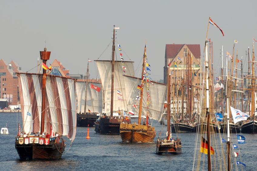 Koggen zum Hansetag Rostock